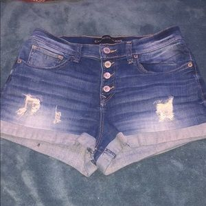 Distressed Express jean shorts